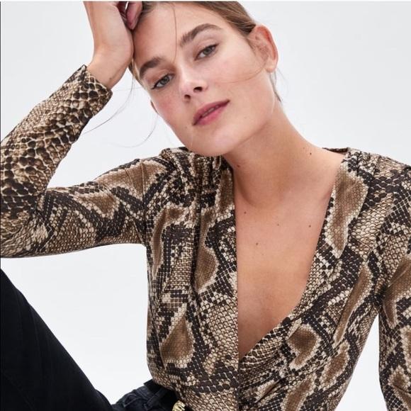 Zara Snake Print Wrap Bodysuit